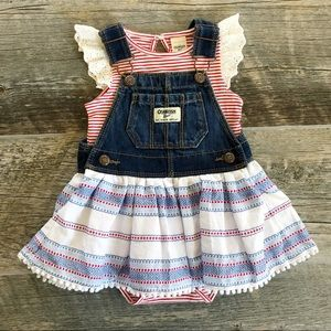 OSH KOSH Red White and Blue Denim Overall Skirt